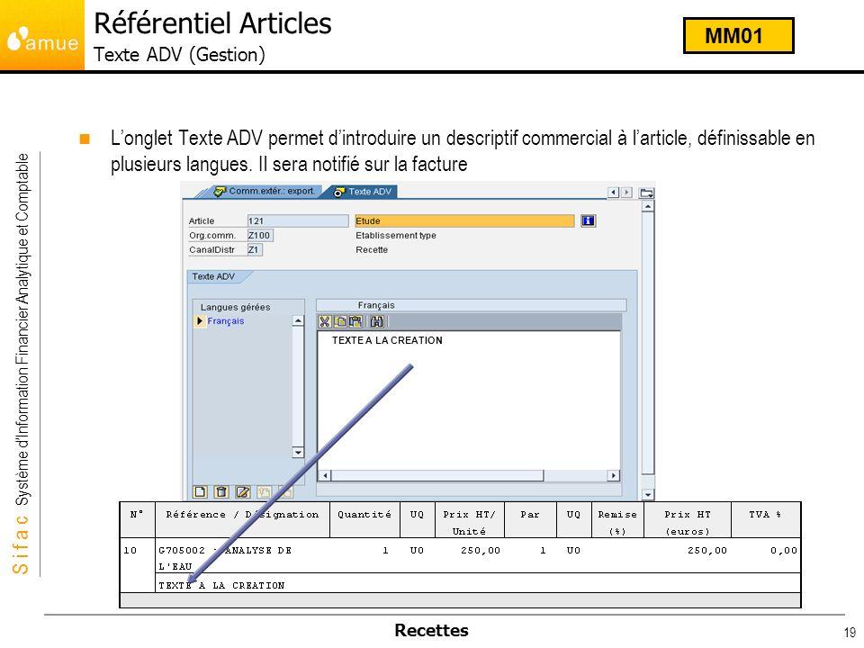 S i f a c Système dInformation Financier Analytique et Comptable Recettes 19 Longlet Texte ADV permet dintroduire un descriptif commercial à larticle,