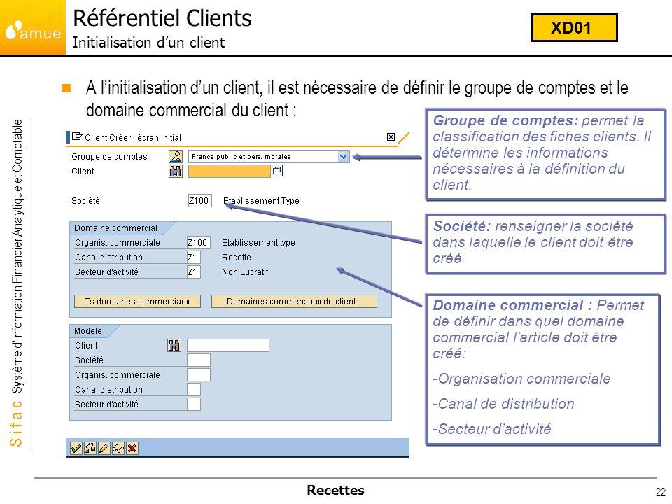 S i f a c Système dInformation Financier Analytique et Comptable Recettes 22 A linitialisation dun client, il est nécessaire de définir le groupe de c