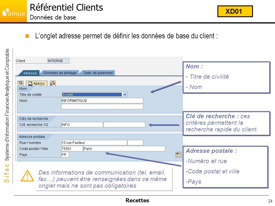 S i f a c Système dInformation Financier Analytique et Comptable Recettes 24 Longlet adresse permet de définir les données de base du client : Nom : -