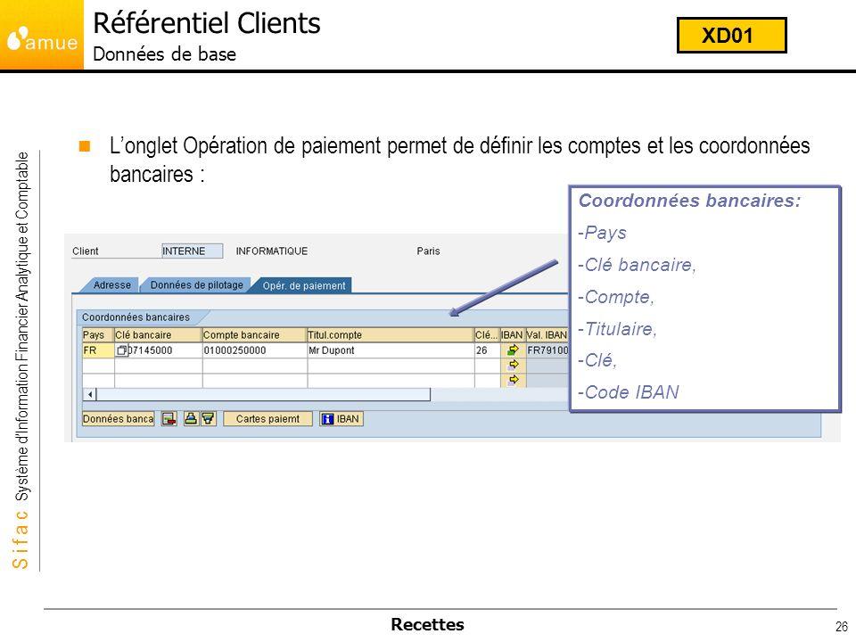 S i f a c Système dInformation Financier Analytique et Comptable Recettes 26 Longlet Opération de paiement permet de définir les comptes et les coordo