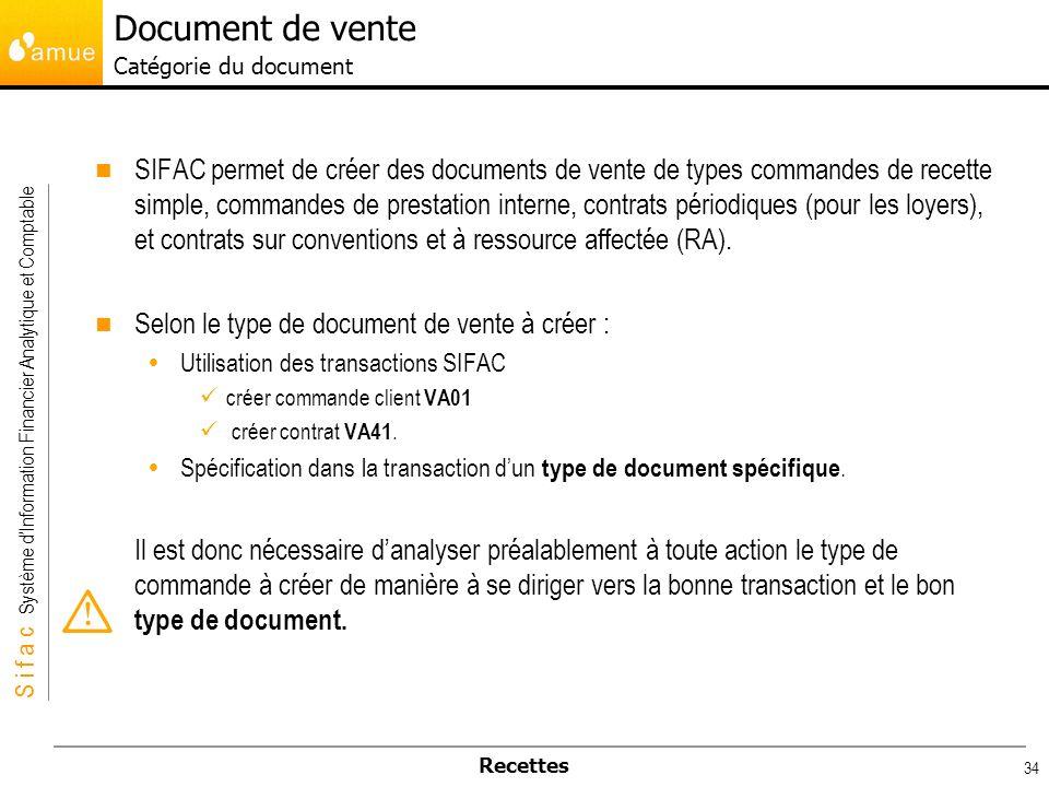 S i f a c Système dInformation Financier Analytique et Comptable Recettes 34 SIFAC permet de créer des documents de vente de types commandes de recett