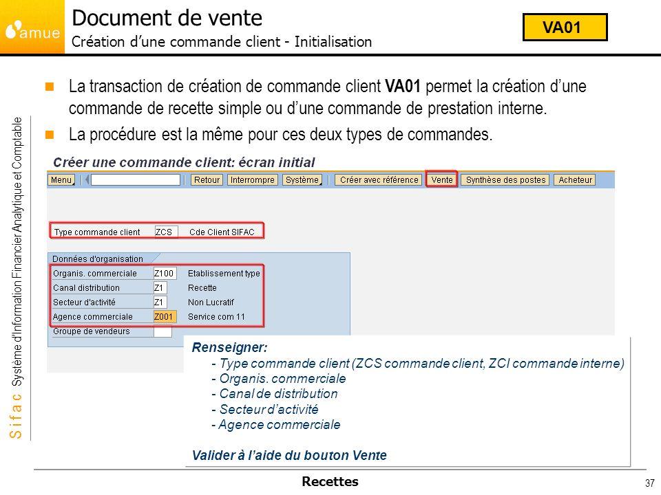 S i f a c Système dInformation Financier Analytique et Comptable Recettes 37 Renseigner: - Type commande client (ZCS commande client, ZCI commande int
