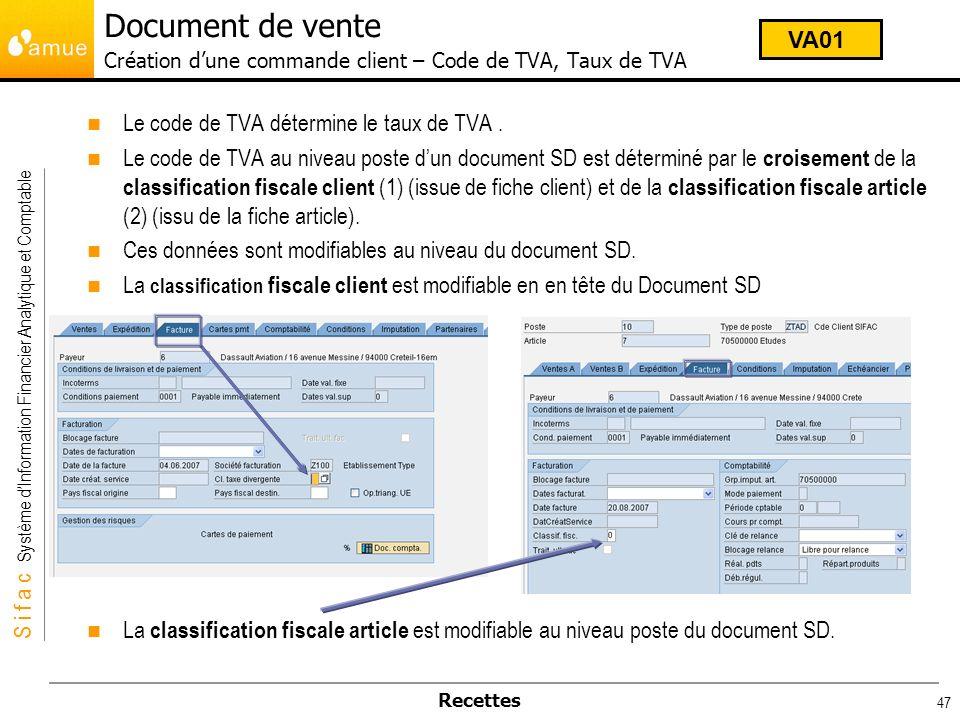 S i f a c Système dInformation Financier Analytique et Comptable Recettes 47 Le code de TVA détermine le taux de TVA. Le code de TVA au niveau poste d