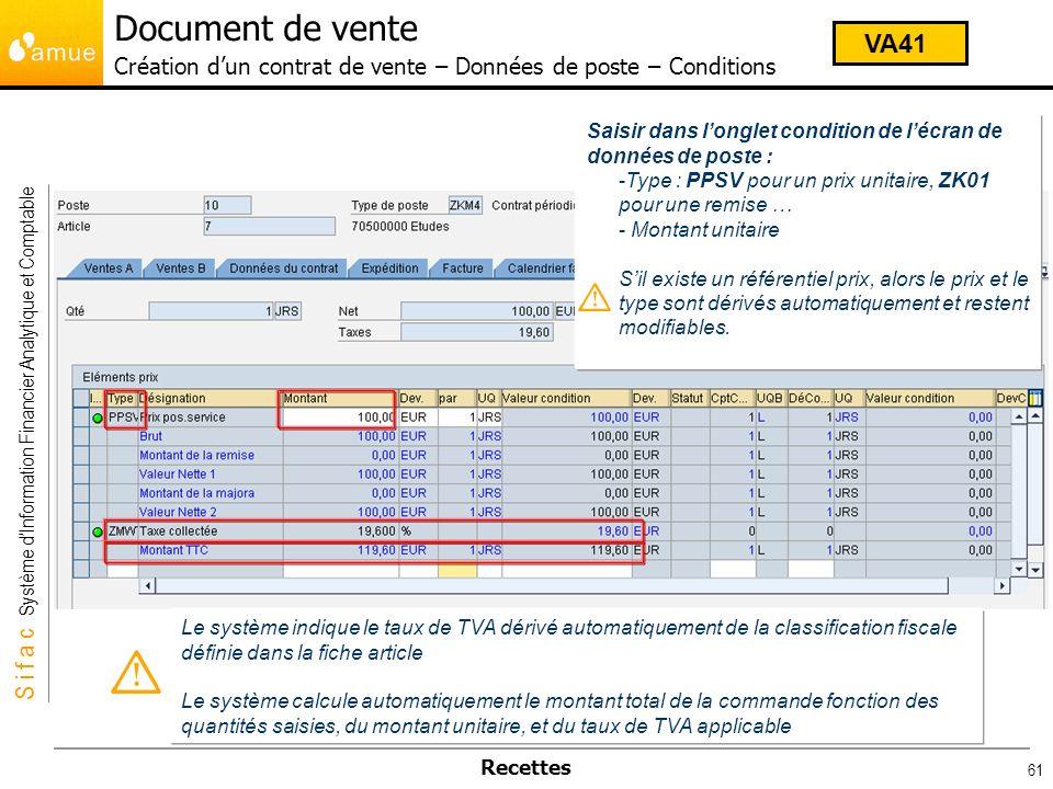 S i f a c Système dInformation Financier Analytique et Comptable Recettes 61 Saisir dans longlet condition de lécran de données de poste : -Type : PPS