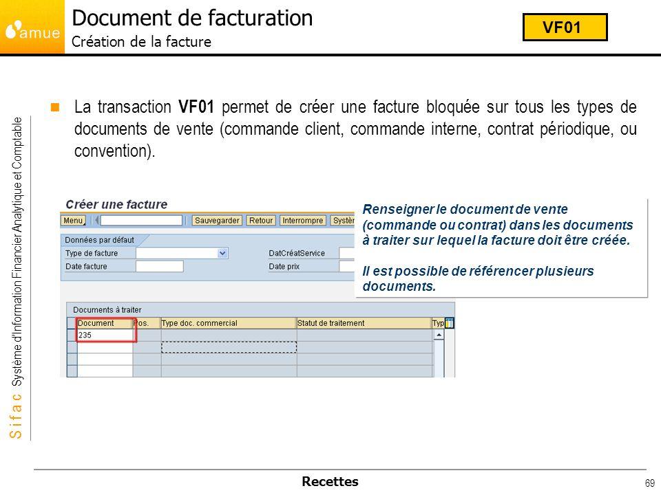 S i f a c Système dInformation Financier Analytique et Comptable Recettes 69 La transaction VF01 permet de créer une facture bloquée sur tous les type