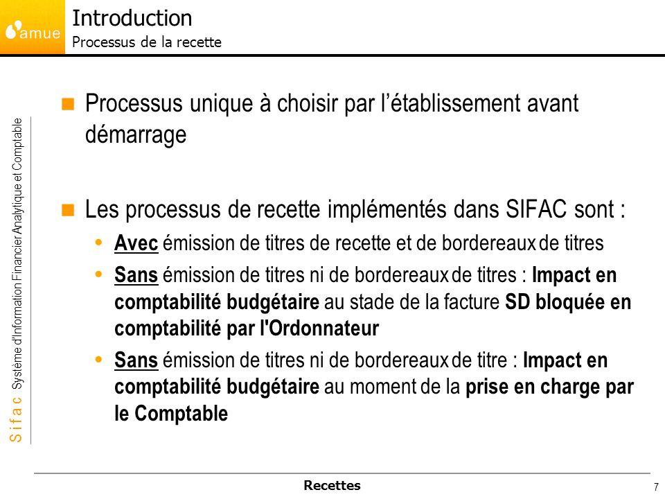 S i f a c Système dInformation Financier Analytique et Comptable Recettes 7 Processus unique à choisir par létablissement avant démarrage Les processu