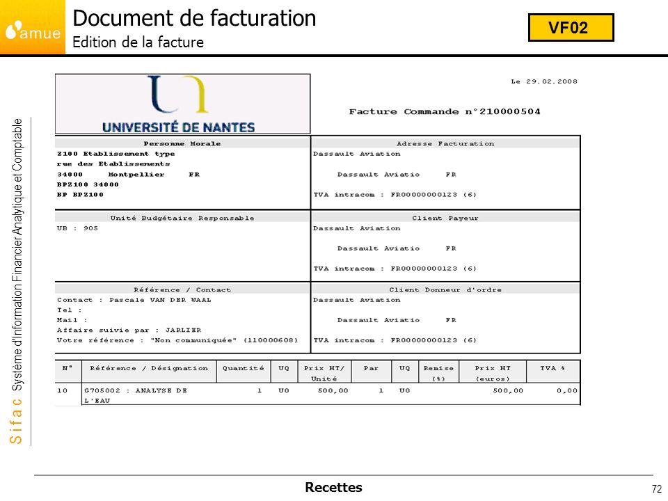 S i f a c Système dInformation Financier Analytique et Comptable Recettes 72 Document de facturation Edition de la facture VF02