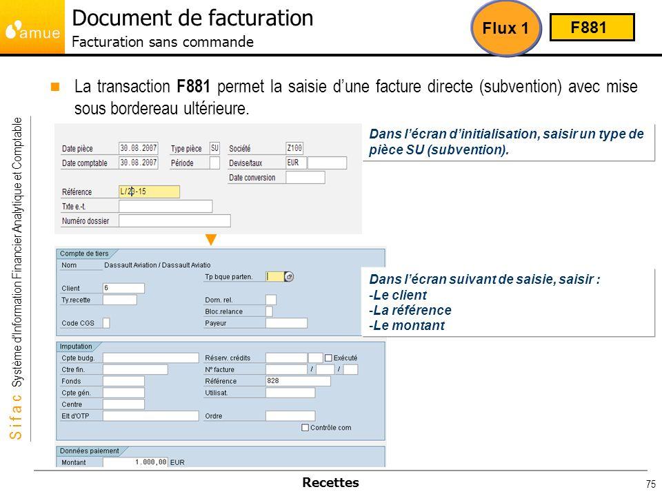 S i f a c Système dInformation Financier Analytique et Comptable Recettes 75 La transaction F881 permet la saisie dune facture directe (subvention) av