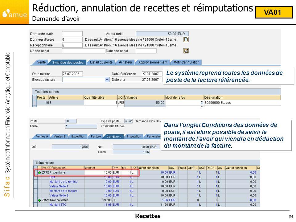 S i f a c Système dInformation Financier Analytique et Comptable Recettes 84 Le système reprend toutes les données de poste de la facture référencée.