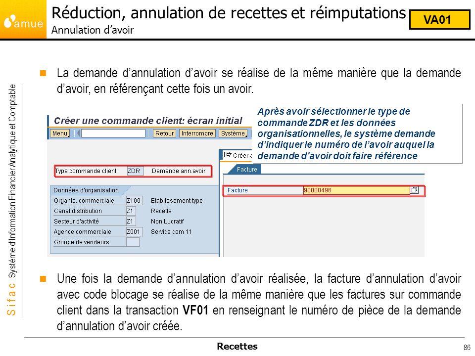 S i f a c Système dInformation Financier Analytique et Comptable Recettes 86 La demande dannulation davoir se réalise de la même manière que la demand