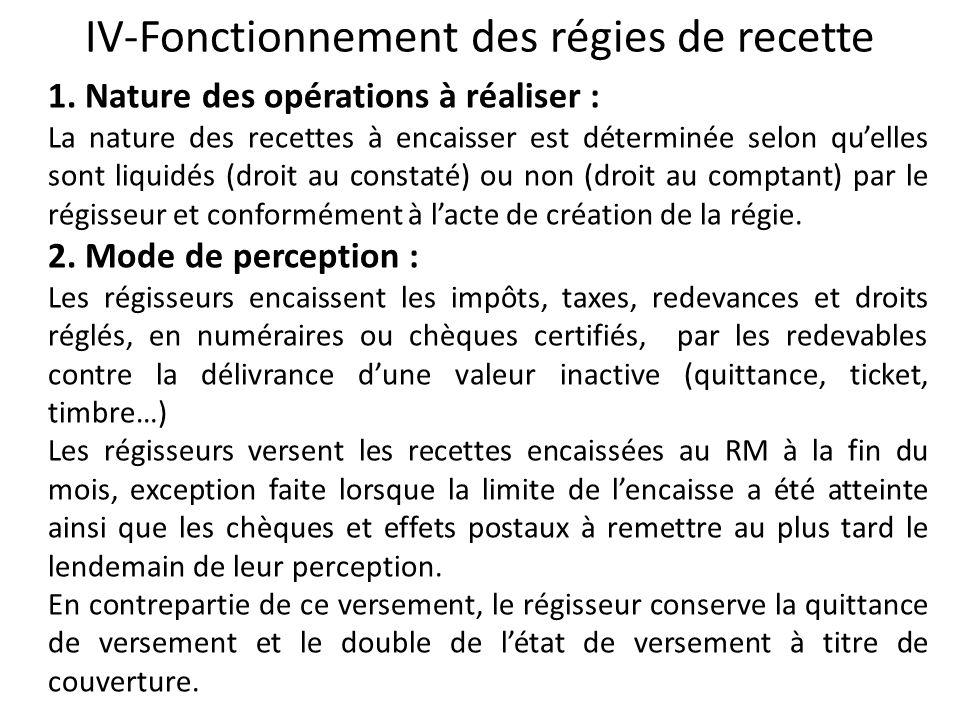 IV-Fonctionnement des régies de recette 1. Nature des opérations à réaliser : La nature des recettes à encaisser est déterminée selon quelles sont liq