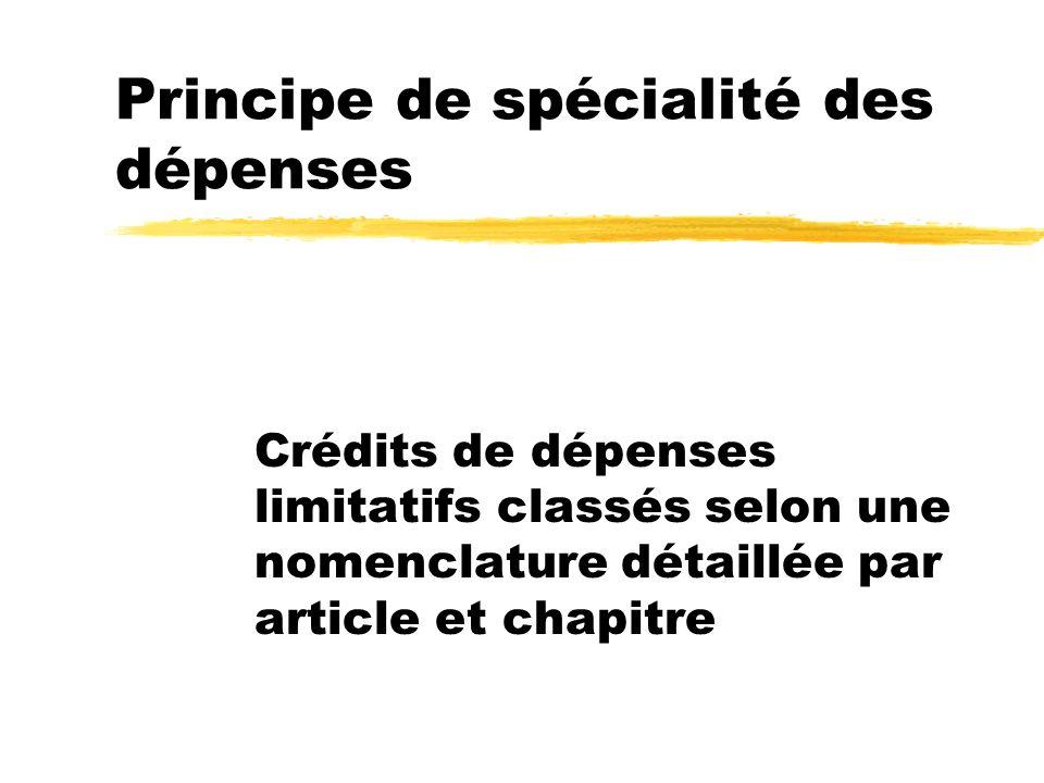 Principe de spécialité des dépenses Crédits de dépenses limitatifs classés selon une nomenclature détaillée par article et chapitre