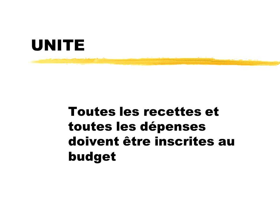 UNITE Toutes les recettes et toutes les dépenses doivent être inscrites au budget