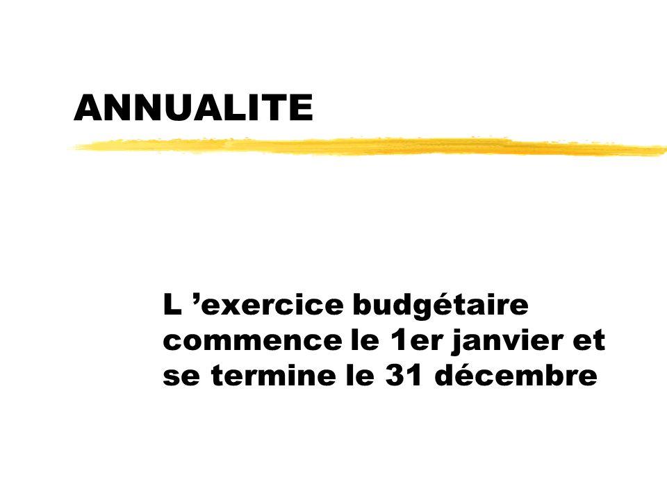ANNUALITE L exercice budgétaire commence le 1er janvier et se termine le 31 décembre