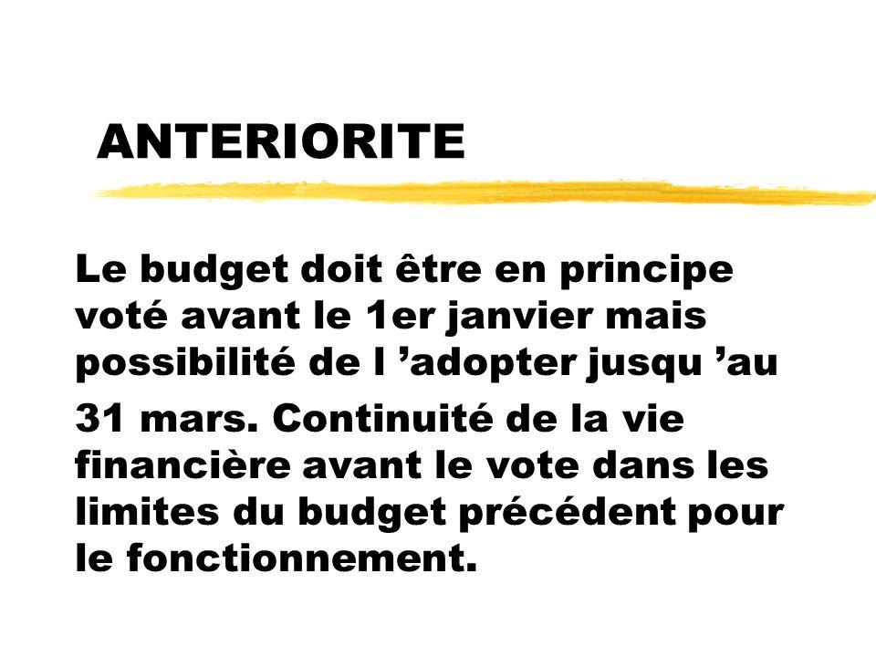 ANTERIORITE Le budget doit être en principe voté avant le 1er janvier mais possibilité de l adopter jusqu au 31 mars. Continuité de la vie financière