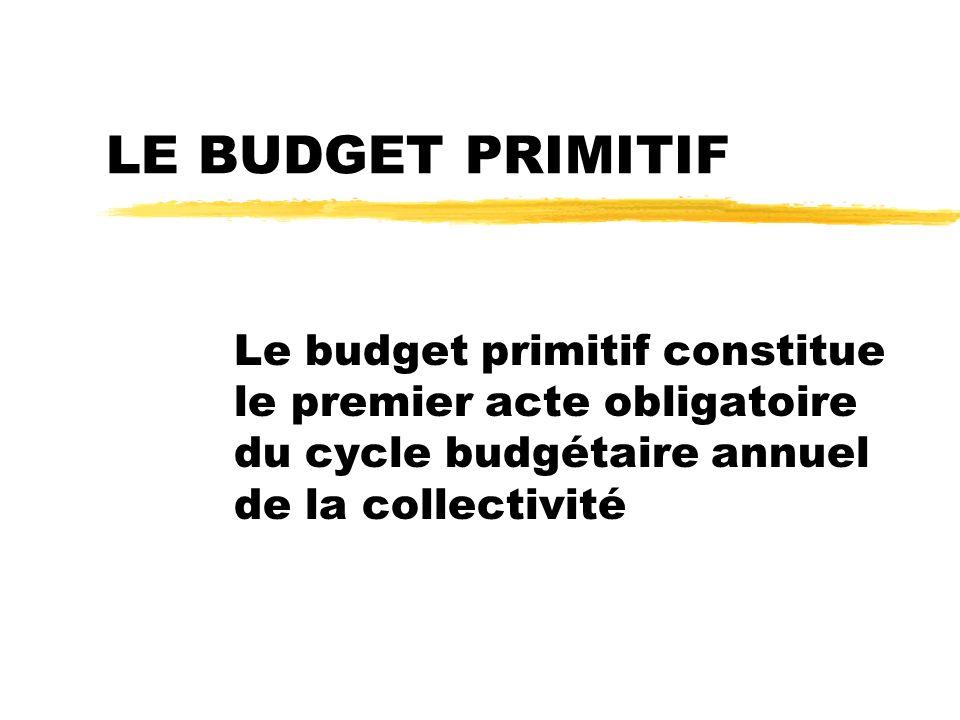 LE BUDGET PRIMITIF Le budget primitif constitue le premier acte obligatoire du cycle budgétaire annuel de la collectivité