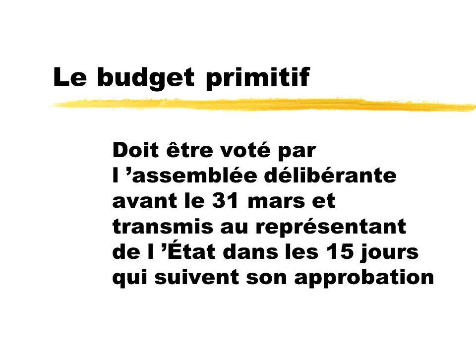 Le budget primitif Doit être voté par l assemblée délibérante avant le 31 mars et transmis au représentant de l État dans les 15 jours qui suivent son