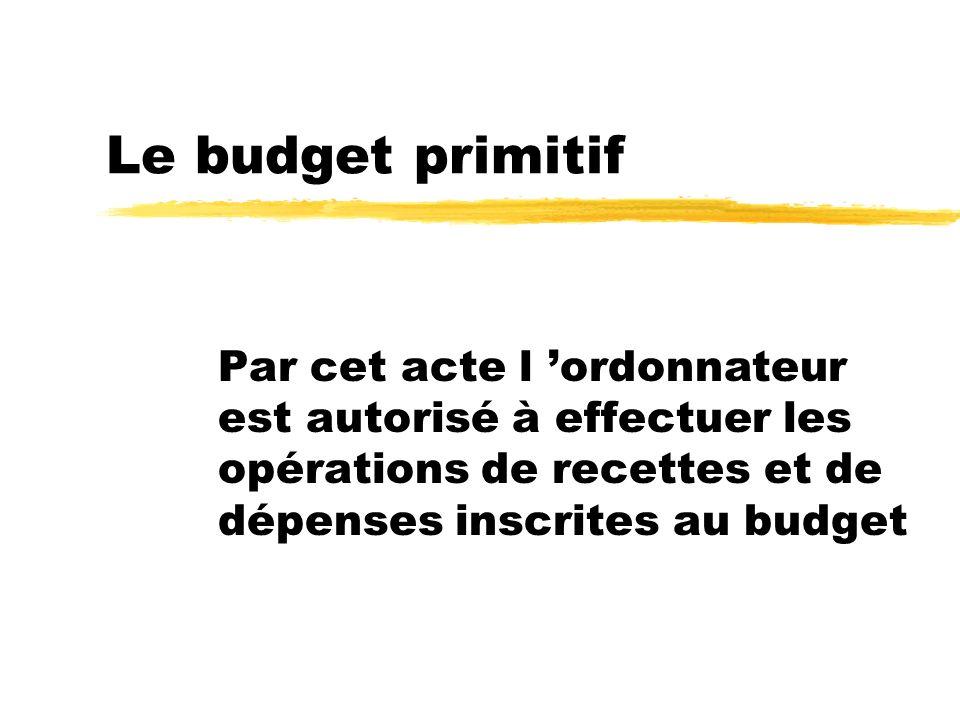 Le budget primitif Par cet acte l ordonnateur est autorisé à effectuer les opérations de recettes et de dépenses inscrites au budget