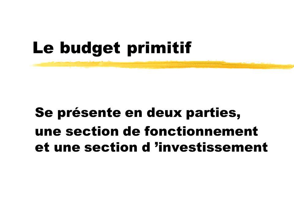Le budget primitif Se présente en deux parties, une section de fonctionnement et une section d investissement