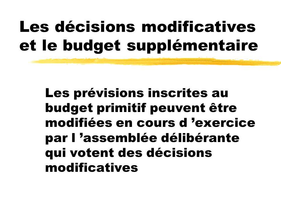 Les décisions modificatives et le budget supplémentaire Les prévisions inscrites au budget primitif peuvent être modifiées en cours d exercice par l a