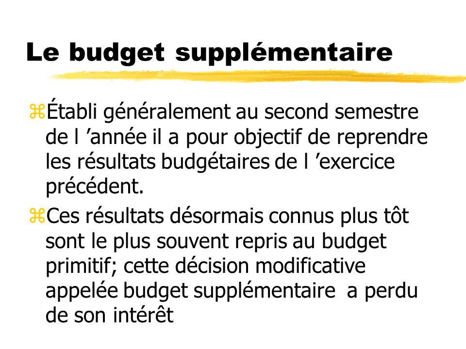 Le budget supplémentaire zÉtabli généralement au second semestre de l année il a pour objectif de reprendre les résultats budgétaires de l exercice pr