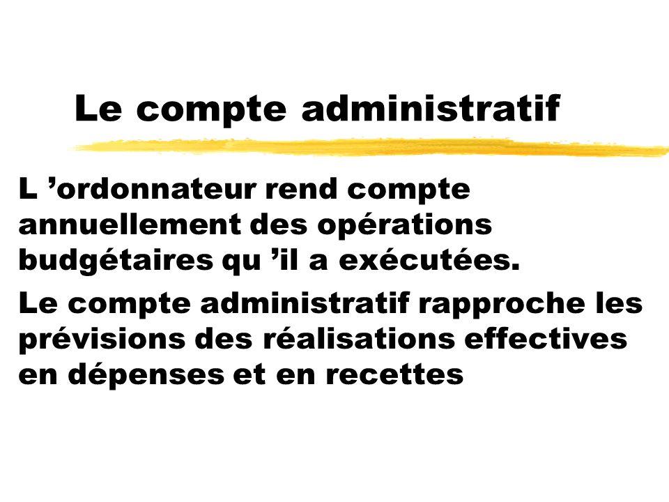 Le compte administratif L ordonnateur rend compte annuellement des opérations budgétaires qu il a exécutées. Le compte administratif rapproche les pré
