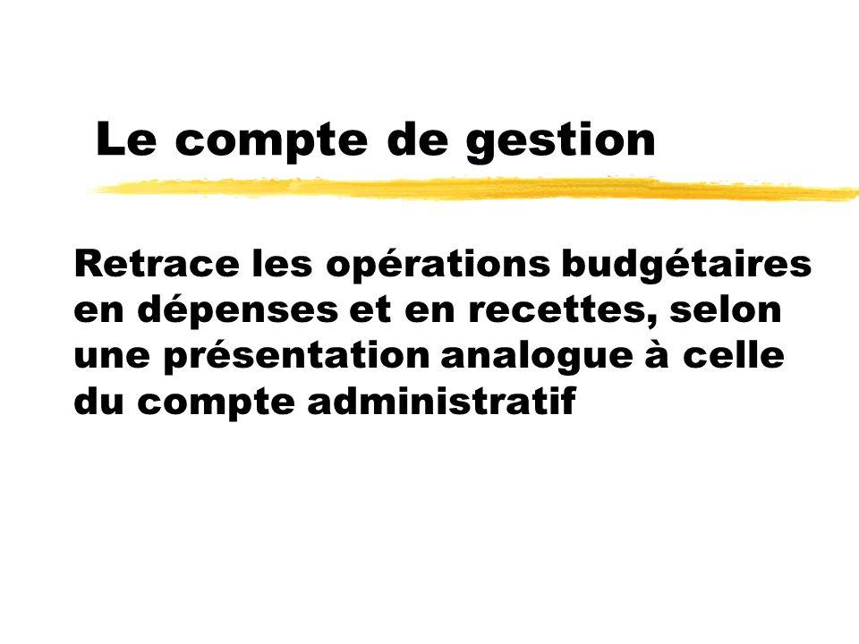 Le compte de gestion Retrace les opérations budgétaires en dépenses et en recettes, selon une présentation analogue à celle du compte administratif
