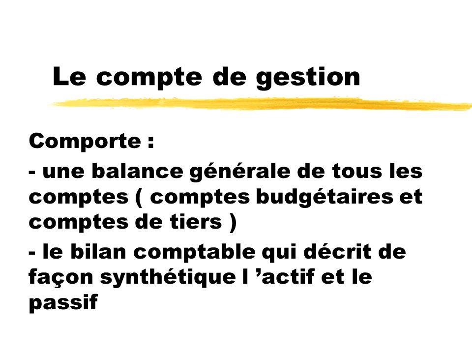 Le compte de gestion Comporte : - une balance générale de tous les comptes ( comptes budgétaires et comptes de tiers ) - le bilan comptable qui décrit