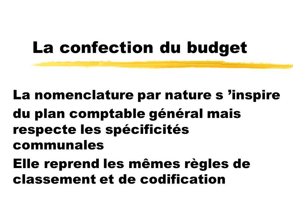 La confection du budget La nomenclature par nature s inspire du plan comptable général mais respecte les spécificités communales Elle reprend les même