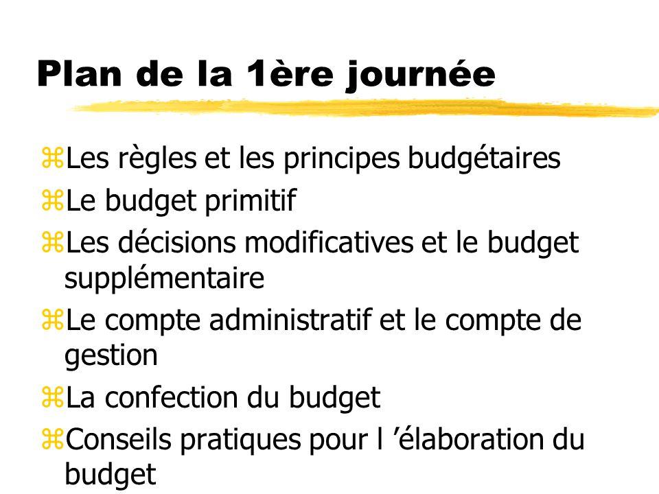 Plan de la 1ère journée zLes règles et les principes budgétaires zLe budget primitif zLes décisions modificatives et le budget supplémentaire zLe comp