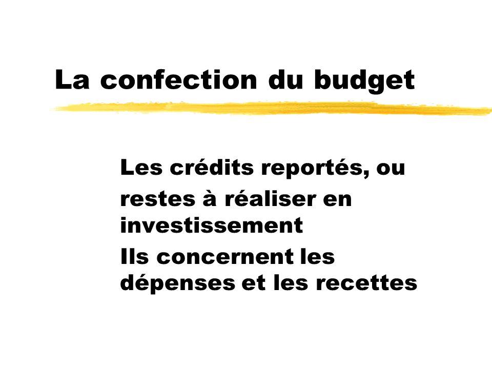 La confection du budget Les crédits reportés, ou restes à réaliser en investissement Ils concernent les dépenses et les recettes