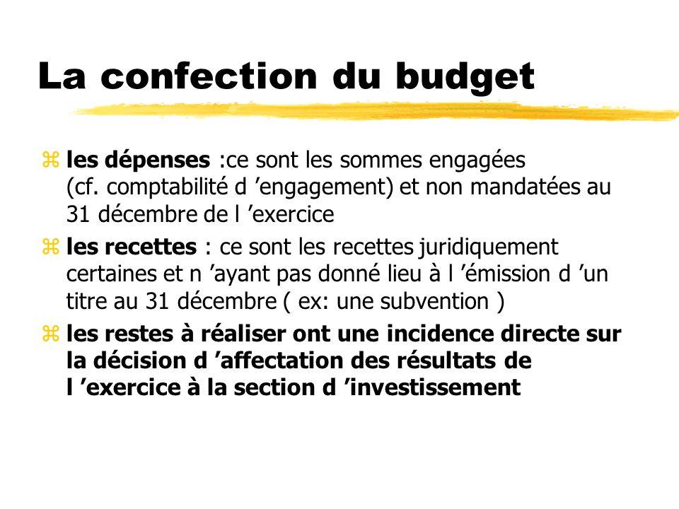 La confection du budget zles dépenses :ce sont les sommes engagées (cf. comptabilité d engagement) et non mandatées au 31 décembre de l exercice zles