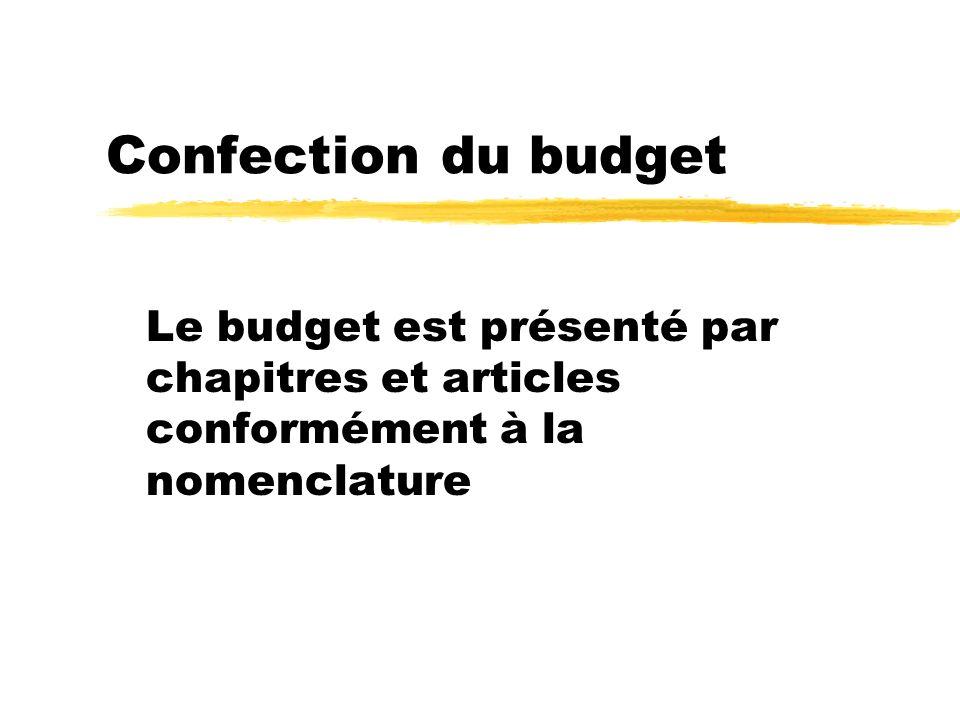 Confection du budget Le budget est présenté par chapitres et articles conformément à la nomenclature