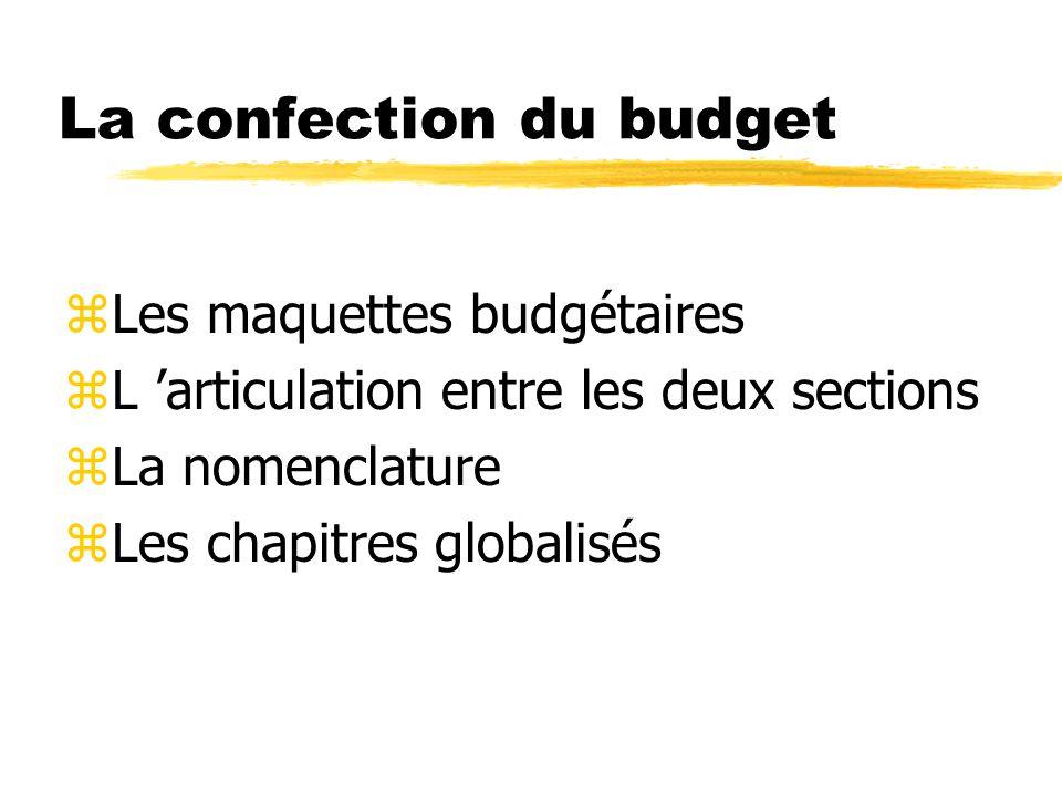 La confection du budget zLes maquettes budgétaires zL articulation entre les deux sections zLa nomenclature zLes chapitres globalisés