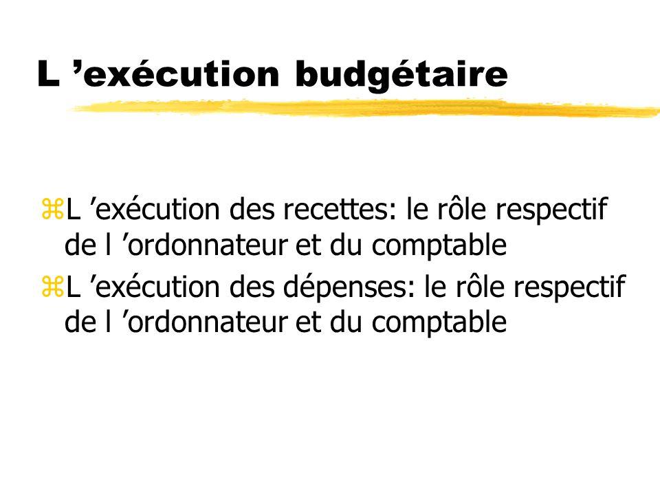 L exécution budgétaire zL exécution des recettes: le rôle respectif de l ordonnateur et du comptable zL exécution des dépenses: le rôle respectif de l