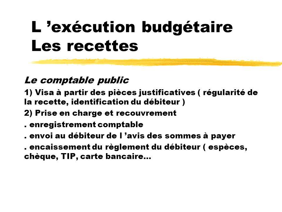 L exécution budgétaire Les recettes Le comptable public 1) Visa à partir des pièces justificatives ( régularité de la recette, identification du débit