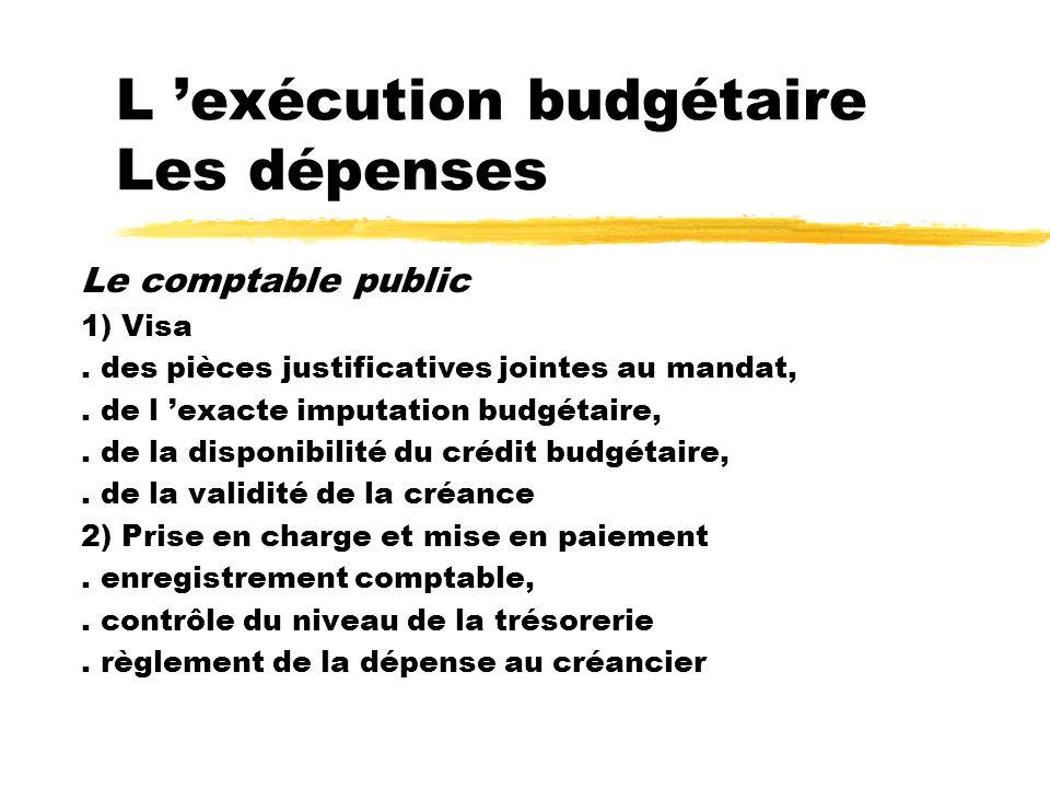 L exécution budgétaire Les dépenses Le comptable public 1) Visa. des pièces justificatives jointes au mandat,. de l exacte imputation budgétaire,. de