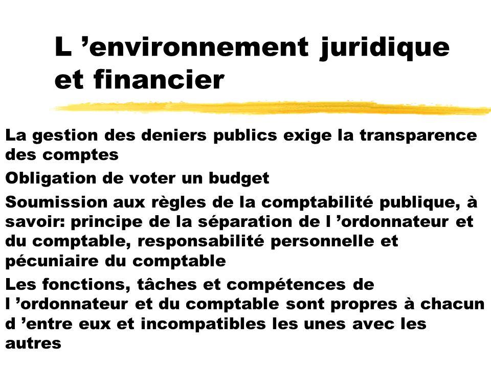 L environnement juridique et financier La gestion des deniers publics exige la transparence des comptes Obligation de voter un budget Soumission aux r