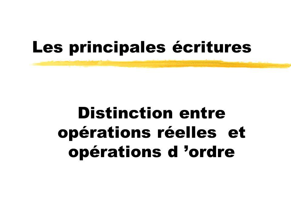 Les principales écritures Distinction entre opérations réelles et opérations d ordre