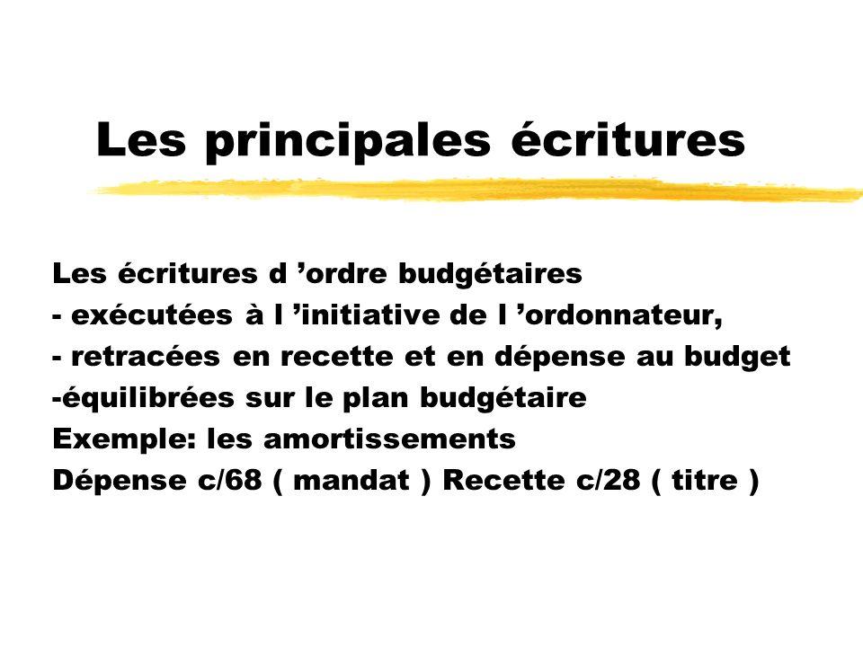 Les principales écritures Les écritures d ordre budgétaires - exécutées à l initiative de l ordonnateur, - retracées en recette et en dépense au budge