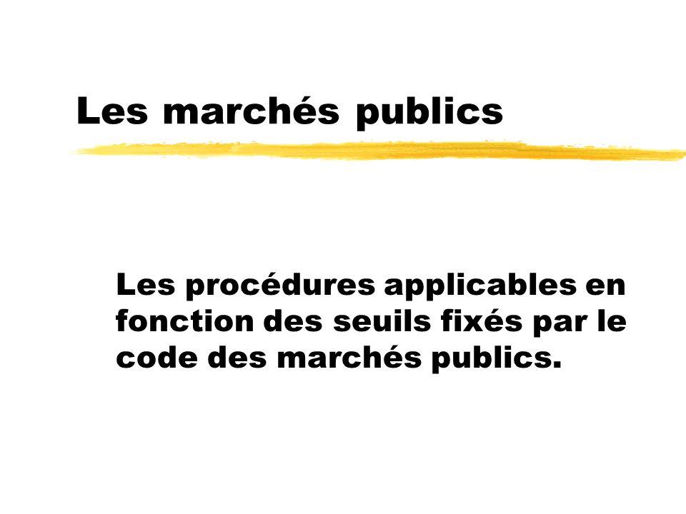 Les marchés publics Les procédures applicables en fonction des seuils fixés par le code des marchés publics.