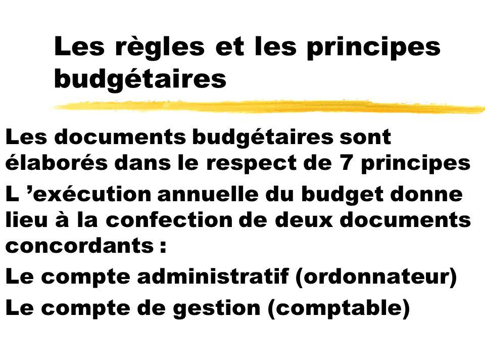 Les règles et les principes budgétaires Les documents budgétaires sont élaborés dans le respect de 7 principes L exécution annuelle du budget donne li