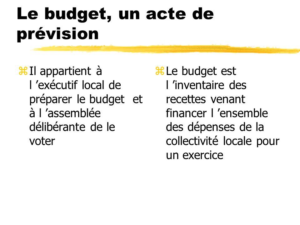Le budget, un acte de prévision zIl appartient à l exécutif local de préparer le budget et à l assemblée délibérante de le voter z Le budget est l inv