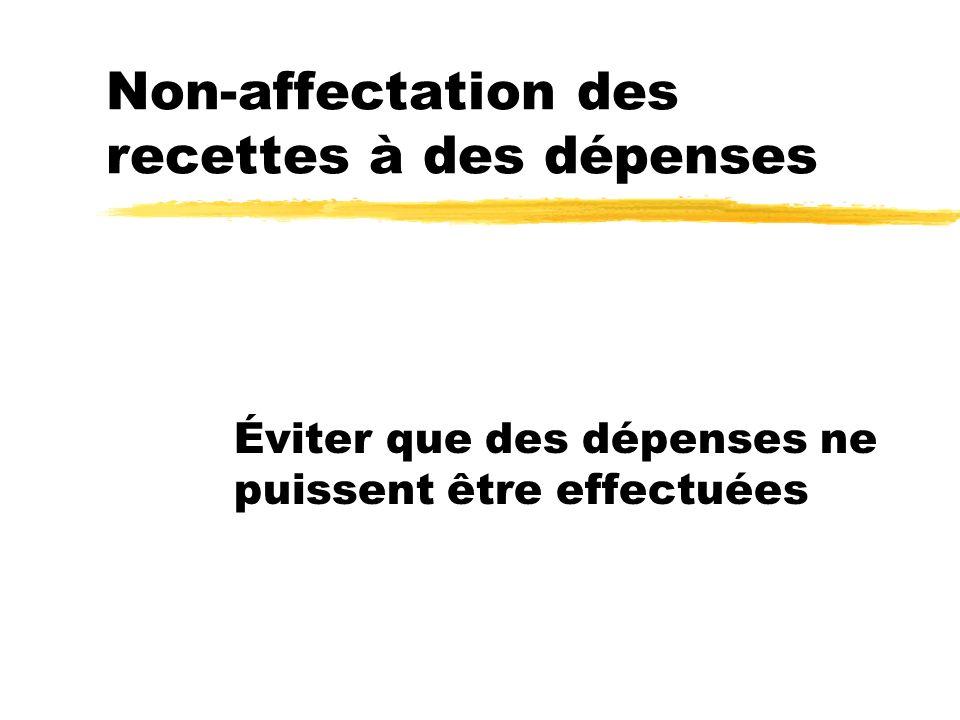 Non-affectation des recettes à des dépenses Éviter que des dépenses ne puissent être effectuées