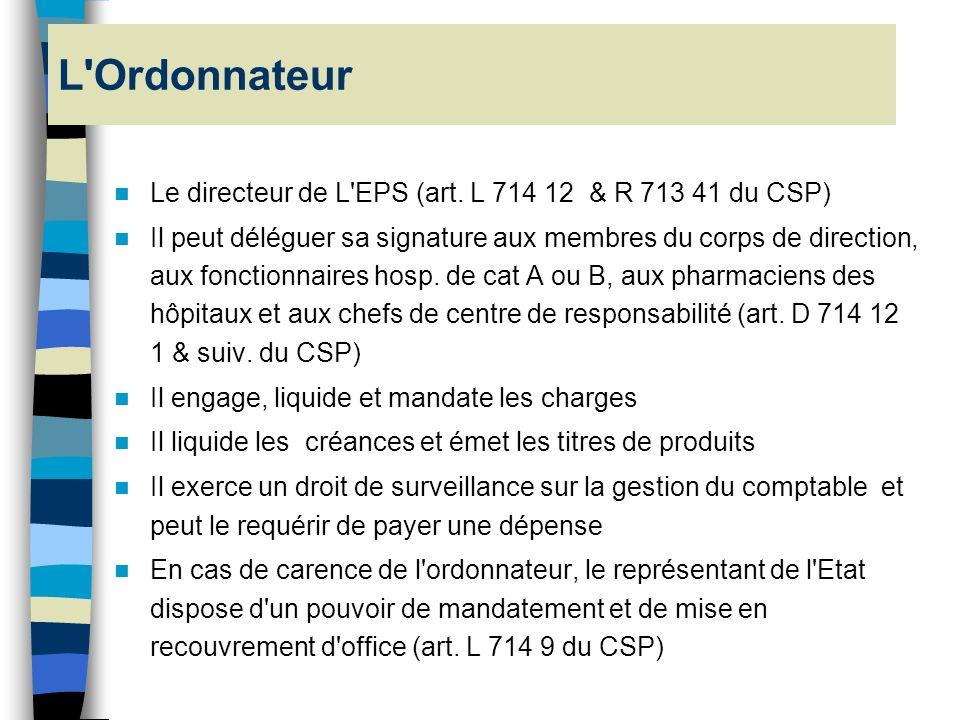 l Les EPS sont soumis aux dispositions de l'art. 20 du décret du 29/12/62 l Les fonctions d'ordonnateur et de comptable sont incompatibles l Ces presc
