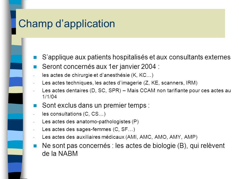 II. LA CCAM (Classification commune des actes médicaux) Actuellement, deux nomenclatures incomplètes et incompatibles entre elles : - le Catalogue des