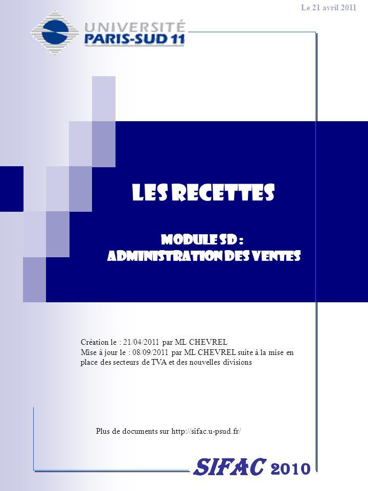 2 PRE-REQUIS3 LE FLUX DES RECETTES5 LES TRANSACTIONS UTILISEES DANS LE FLUX DES RECETTES6 CONSULTER LES DONNEES DUN CLIENT7 CRÉER UNE COMMANDE DE VENTE12 MODIFIER UNE COMMANDE DE VENTE/DAVOIR28 ANNULER UNE COMMANDE DE VENTE/DAVOIR29 CONSULTER UNE COMMANDE DE VENTE/DAVOIR31 CRÉER UNE FACTURE DE VENTE/DAVOIR33 EDITER UNE FACTURE DE VENTE/DAVOIR35 EDITER UN BORDEREAU DE FACTURES DE VENTE/DAVOIR38 ANNULER UNE FACTURE DE VENTE/DAVOIR39 CRÉER UNE DEMANDE DAVOIR40 CONSULTATIONS46 EN PREPARATION : CREATION DUN CONTRAT DE VENTE