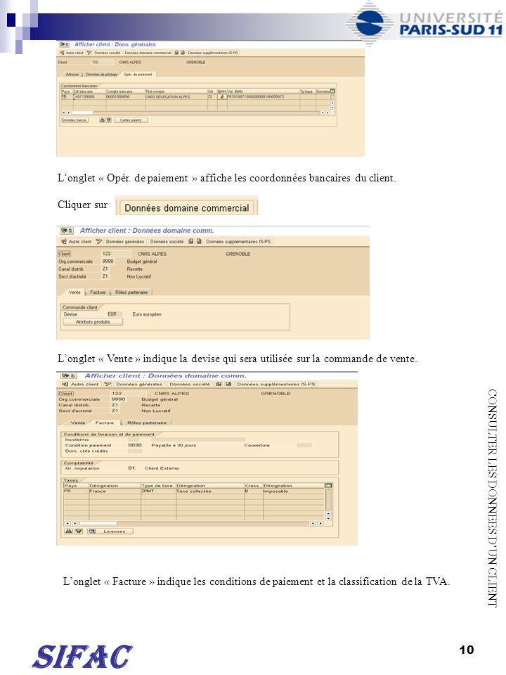 11 Longlet « Rôles partenaire » indique le nom du client qui recevra la facture de vente.