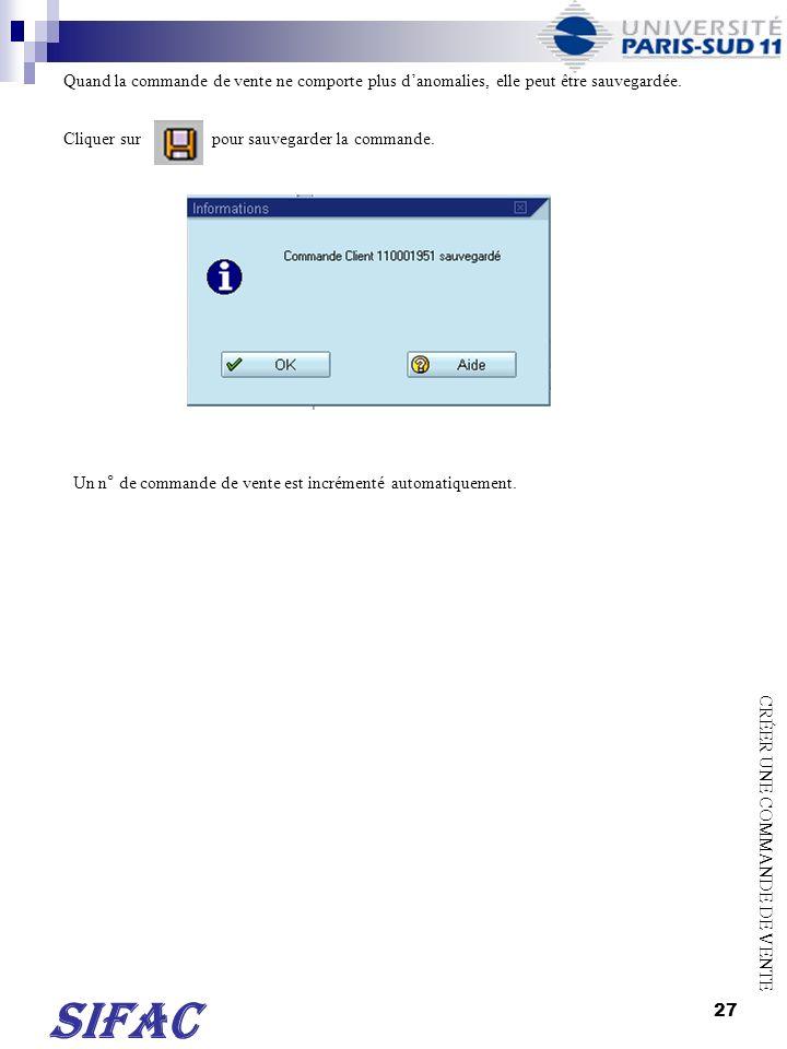 28 TRANSACTION VA02 Saisir le n° de la commande de vente ou de la demande davoir à modifier.