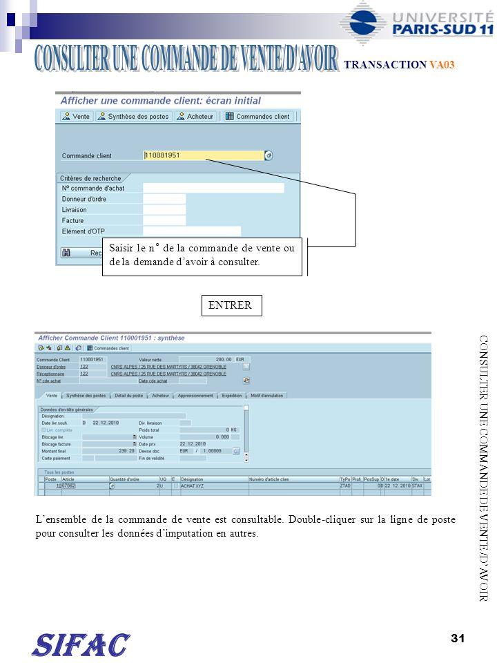 32 CONSULTER UNE COMMANDE DE VENTE /DAVOIR Cliquer sur pour consulter le flux de la recette.